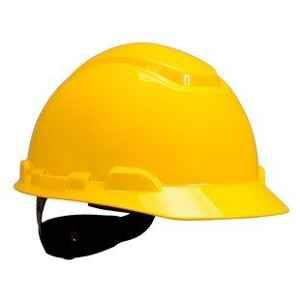 3M H-402R 4 PT Ratchet Unvented Yellow Safety Helmets (Pack of 10)