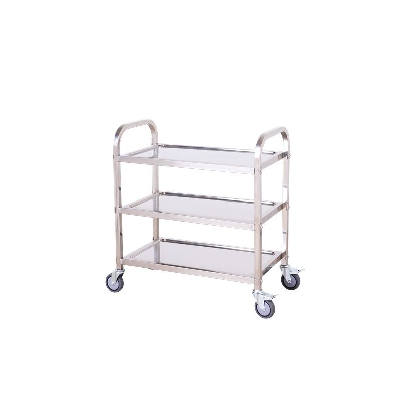 Bigapple 150kg Stainless Steel Silver Triple Platform Service Cart Trolley, TRL-SPH-SC-STEEL-LARGE-SS-BLACK