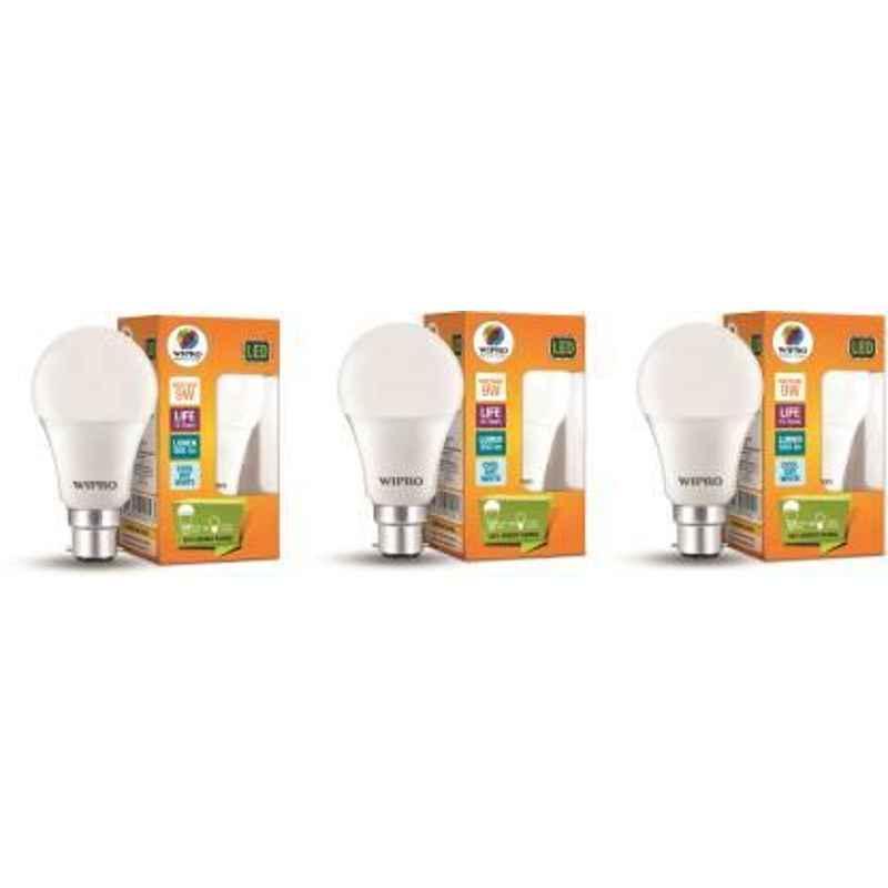 Wipro 9W Cool Day White Standard B22 LED Bulb, N90001 (Pack of 3)