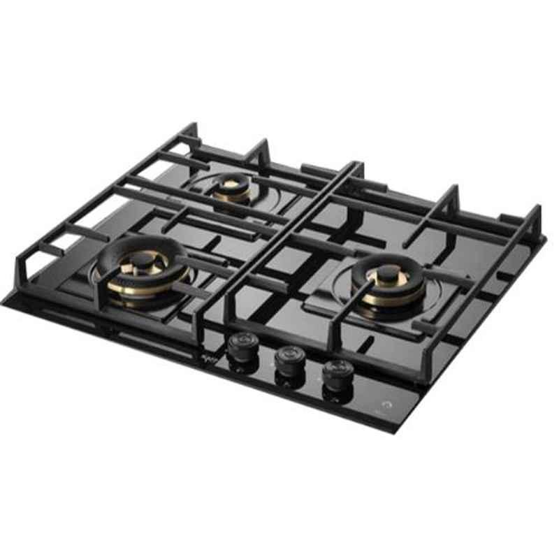 Kaff Milano-X 3 Burners Automatic Ignition Black Glass Hob, MFBX 603