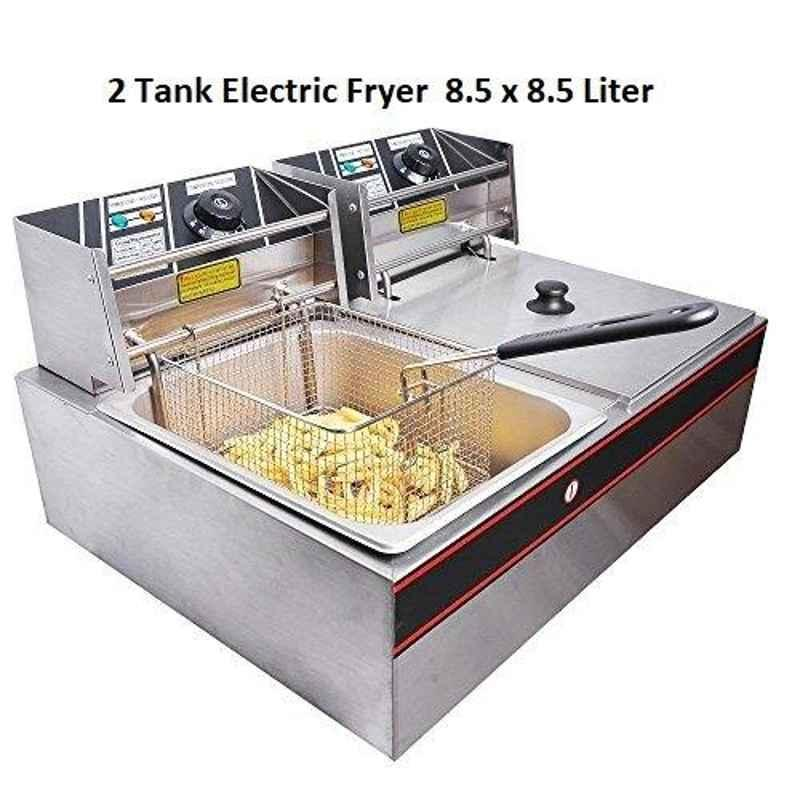Taikong Deep Fryer Double Table Top, For Commercial, Size: 8.5 +8.5 Liters