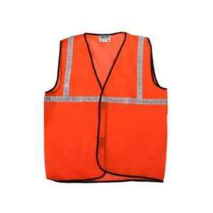 Safies Fabric Orange Safety Jacket with 1 inch Reflective Tape (Pack of 10)