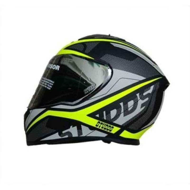 Studds Thunder D4-N5 Decor Matt Black N5 Yellow Motorbike Helmet, Size (L, 580 mm)
