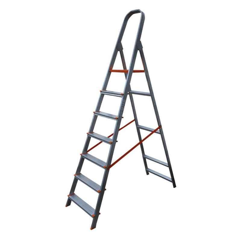 Aguerri Eco 7 Step Orange Silver Coated Aluminium Foldable Ladder with Platform, 4043