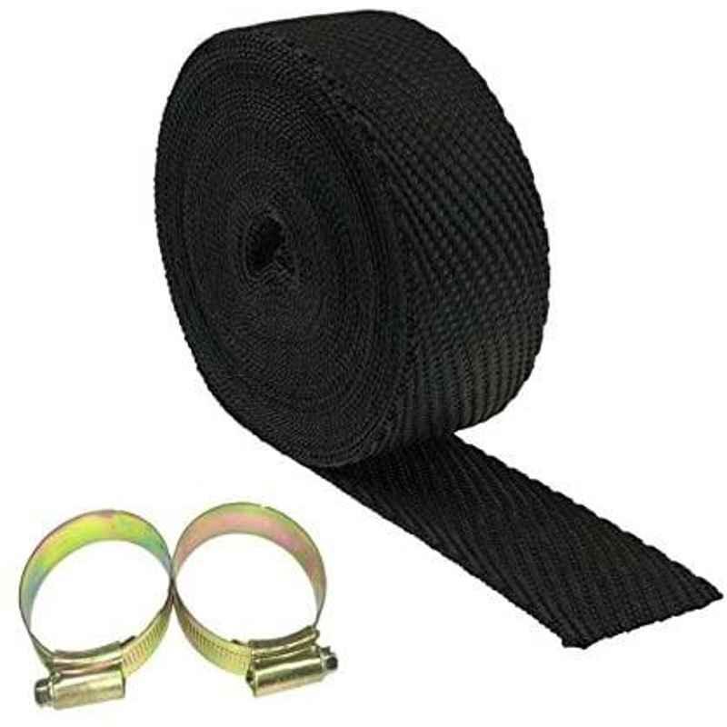 AOW Silencer Wrap Bike Exhaust Heat Shield for Royal Enfield Bullet 500, (Black) Length-5 Metre