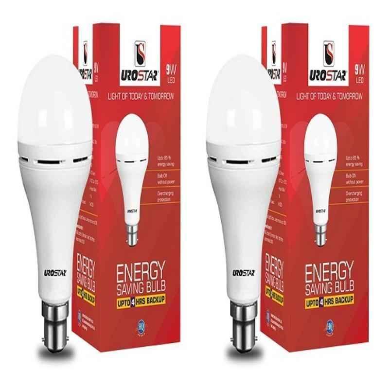 Urostar 9W Cool White B-22 Round Inverter LED Bulb  (Pack of 2)