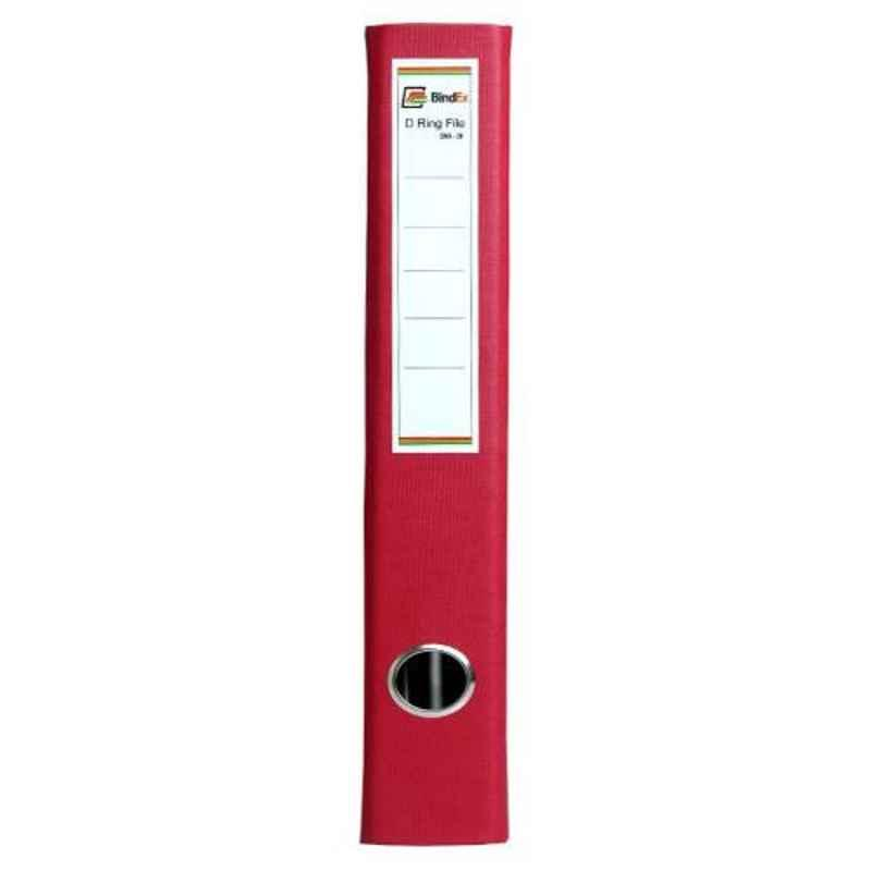 Bindex Red Laminated Office D Ring Binder File, BNX20A2-Red-L (Pack of 2)