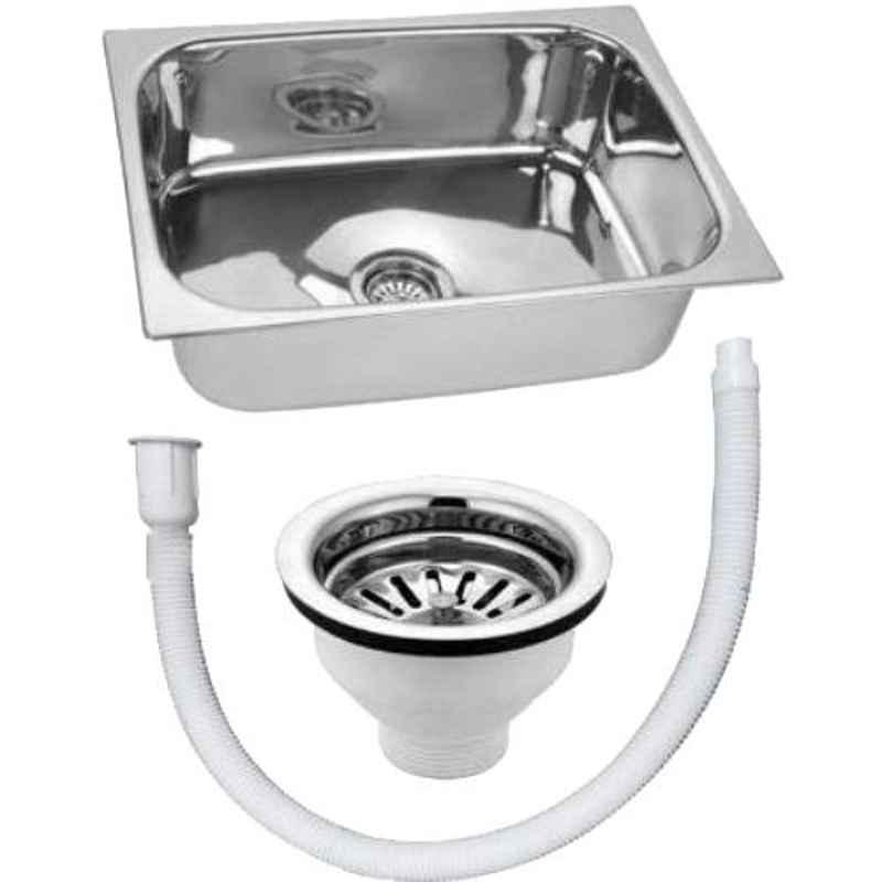 Crocodile 24x18x9 inch Hi Gloss Finish Single Bowl Stainless Steel Kitchen Sink