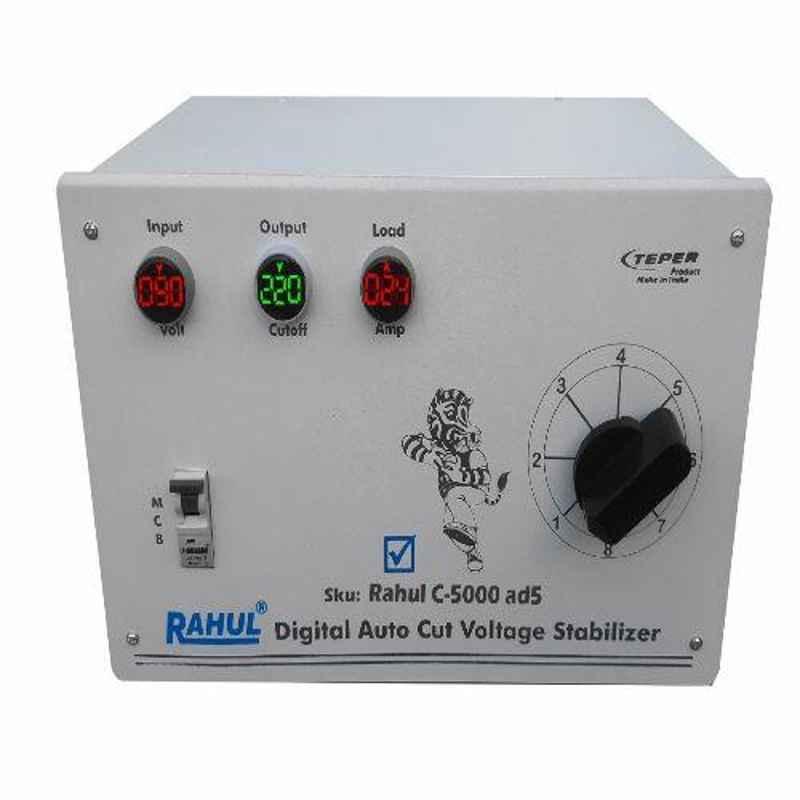 Rahul C-5000AD5 90-280V 5kVA Single Phase Digital Autocut Voltage Stabilizer