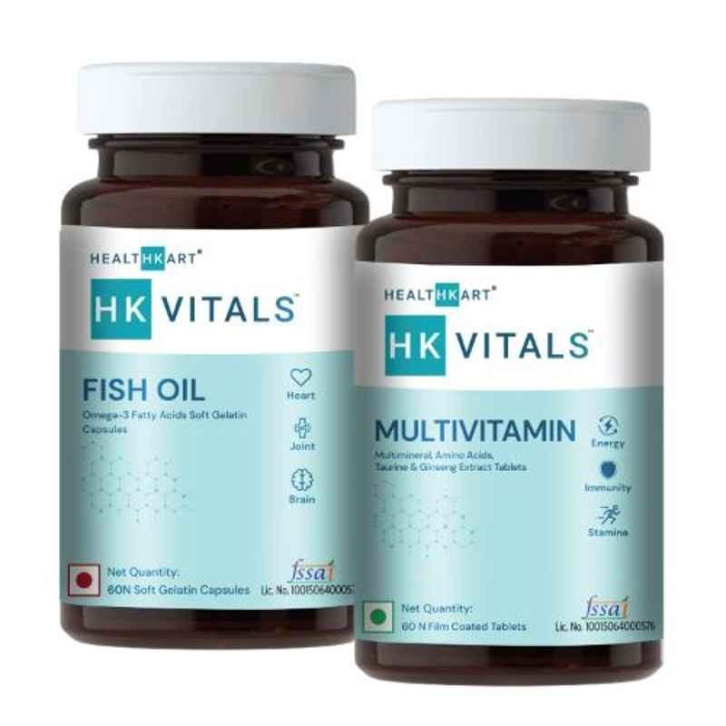 Healthkart 60 Pcs Fish Oil Softgels with Vegetarian Multivitamin, NUT6236-01, (Pack of 2)