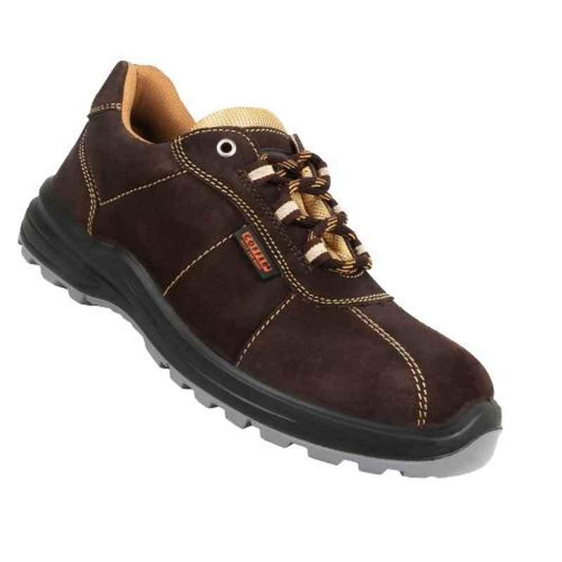 Coffer Safety M1025 Leather Steel Toe Brown Safety Shoes, 82343, Size: 7