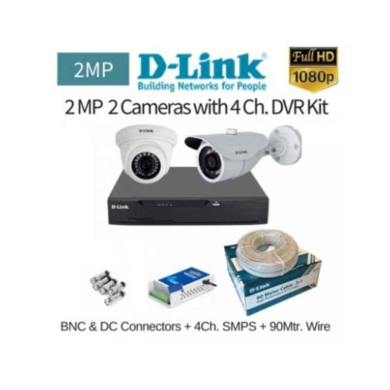 D-Link 2 Cameras 2MP with 4 Channel DVR Combo Kit