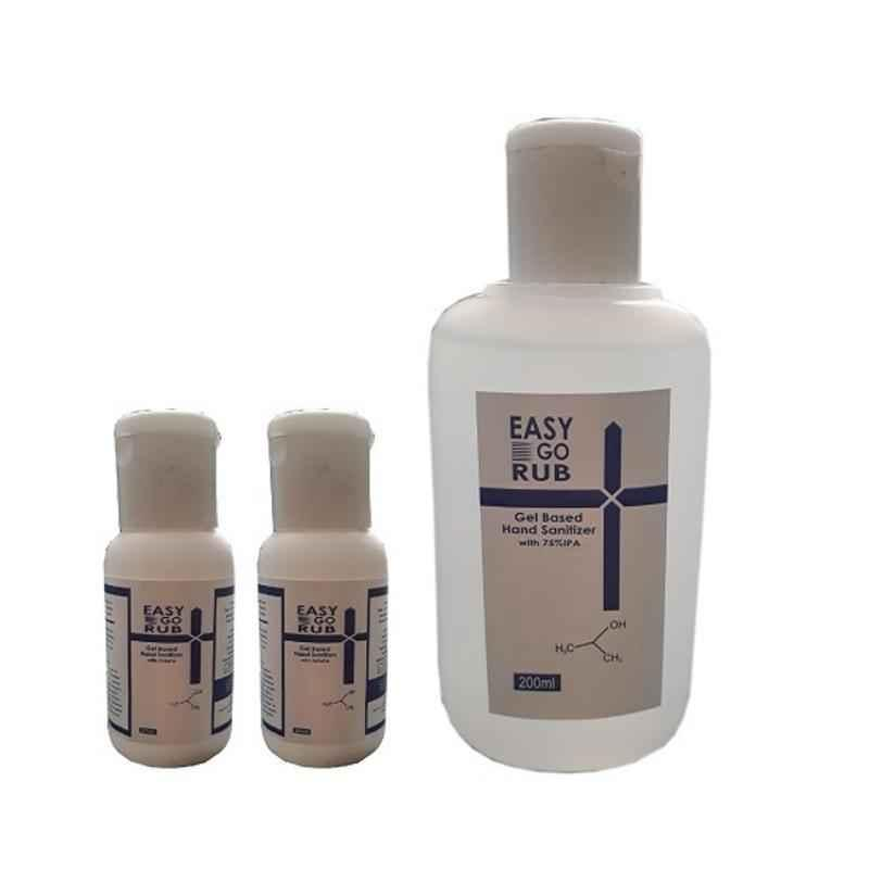 Easy Go Rub 75% Isopropyl Alcohol 2x30ml & 200ml Gel Based Hand Sanitizer Combo