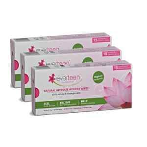 Everteen 15 Pcs Feminine Intimate Hygiene Wipes Box for Women (Pack of 3)