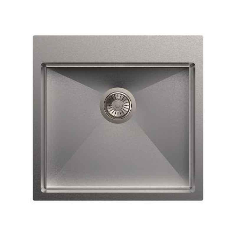 Carysil Micro Radius Waltz Single Bowl Stainless Steel Matt Finish Kitchen Sink, Size: 21x20x8 inch