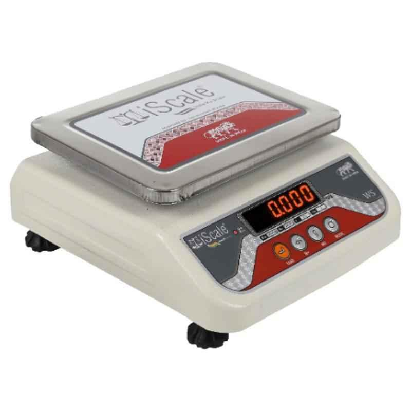 iScale i-03 10kg and 1g Off-white Digital Table Top Weighing Scale with Front & Back Red Colour Double Display