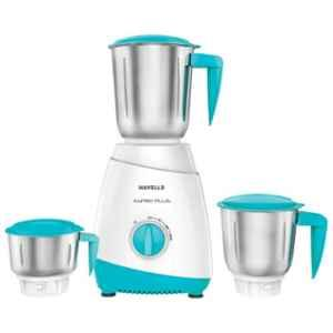 Havells Aspro Plus 500W White & Light Blue Mixer Grinder with 3 Jars, GHFMGCYB050