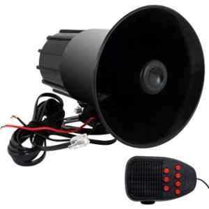 AllExtreme EXLS08H Model 1 12V Tone Sound Car Siren Horn with Mic Speaker System, 30W Emergency Amplifier & Microphone