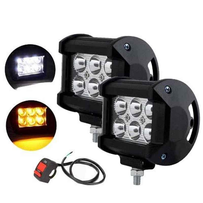 AllExtreme EX6L2WS 2 Pcs 18W 6 LED White & Yellow Waterproof Fog Light Pod Set with On/Off Switch