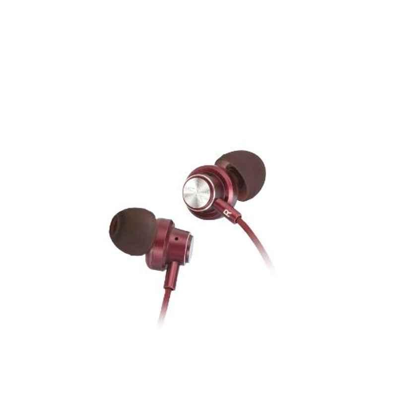 Fingers Power Soniq Burgundy In-line Wired Earphone with Mic
