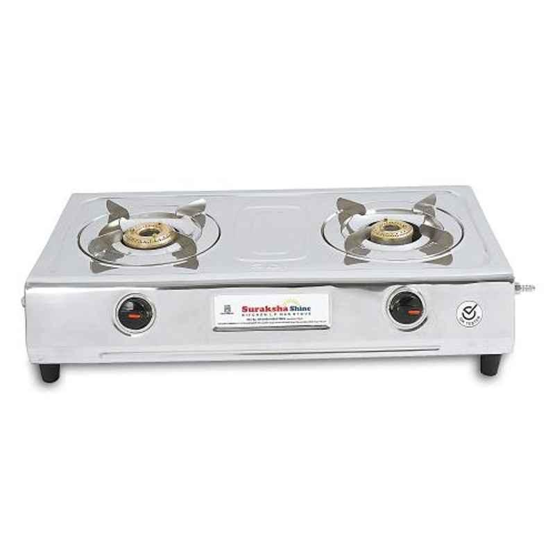 Suraksha Shine VS2 High Quality Stainless Steel 2 Burner Gas Stove Stove, SBI00193