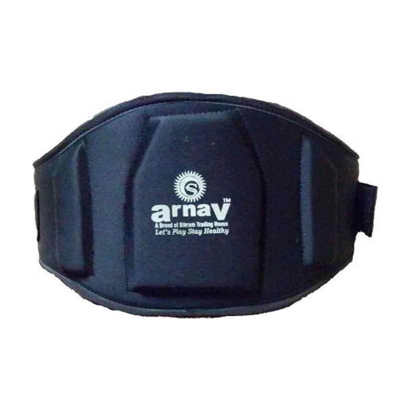 Arnav 8 inch & 10mm 42-45 inch Moulde Leather Black Weight Lifting Belt, OSB-700733