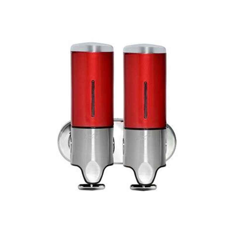 Bharat Photon 2x500ml Wall Mounted Polycarbonate ABS Romantic & Staid Manual Dispenser, BP-MSA-132