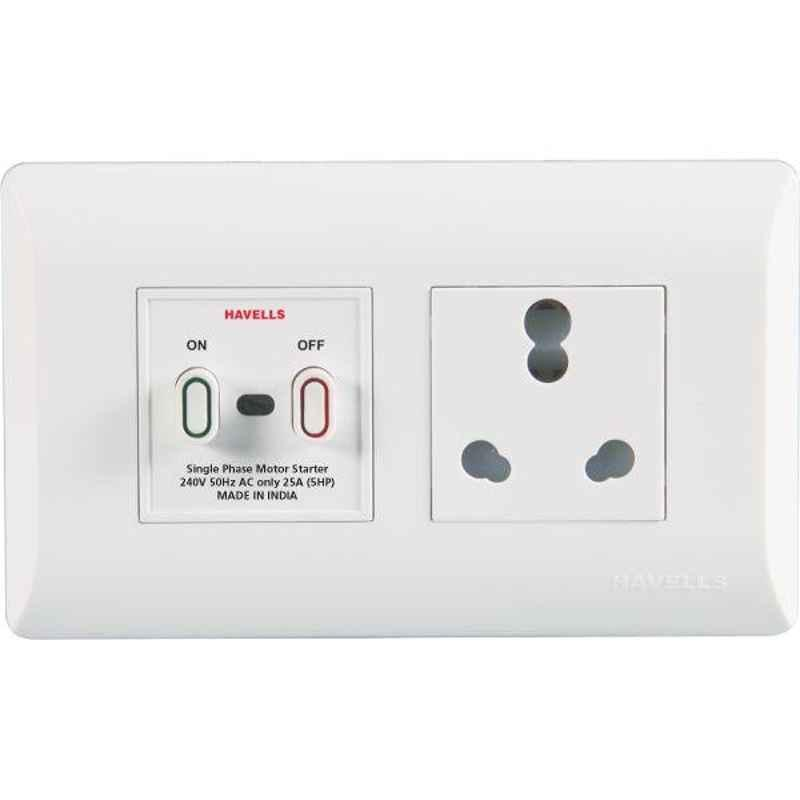 Havells Coral 25A Polycarbonate Pure White Power Unit, AHLO252504