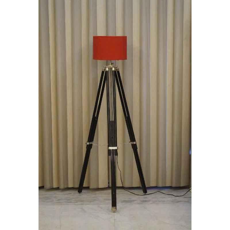Tucasa Mango Wood Black Tripod Floor Lamp with Polycotton Red Shade, P-99