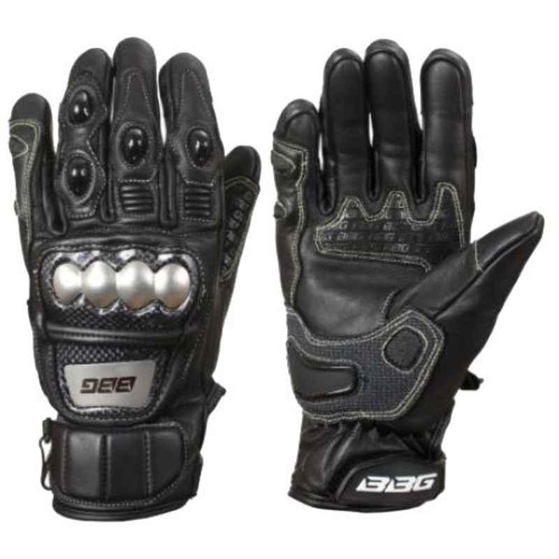 Biking Brotherhood Leather Semi Gauntlet Gloves, Size: Small