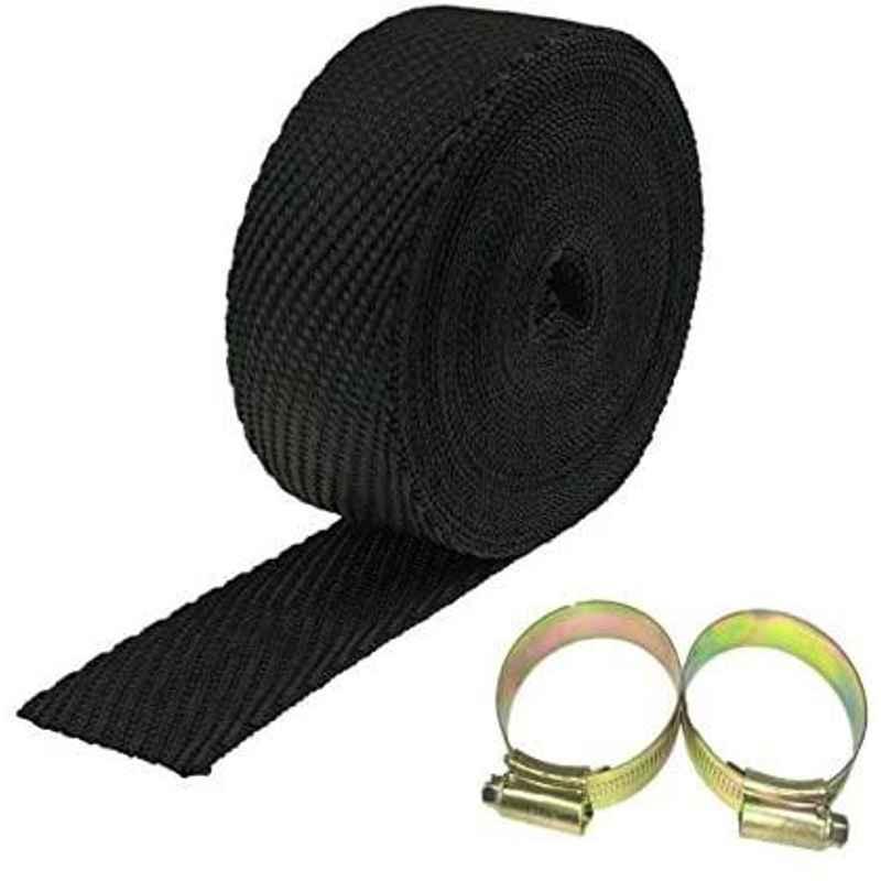 AOW Silencer Wrap Bike Exhaust Heat Shield for Royal Enfield Thunder Bird 350, (Black) Length-5 Metre