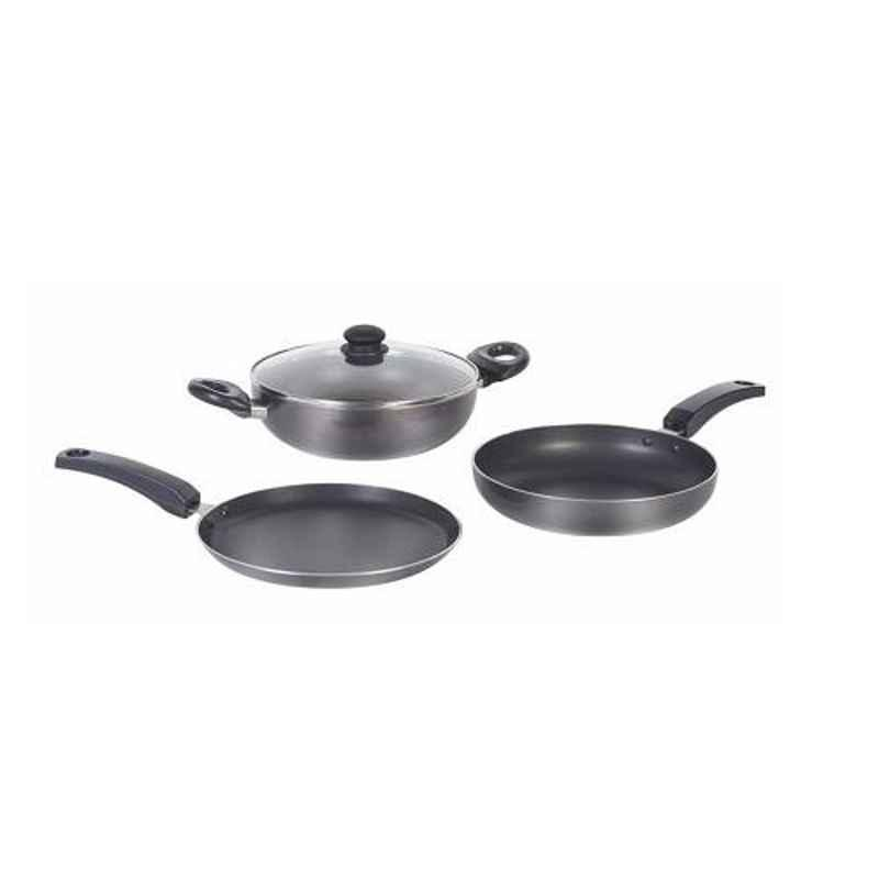 Good Flame 3 Pcs Aluminum Black Cookware Set, CS06