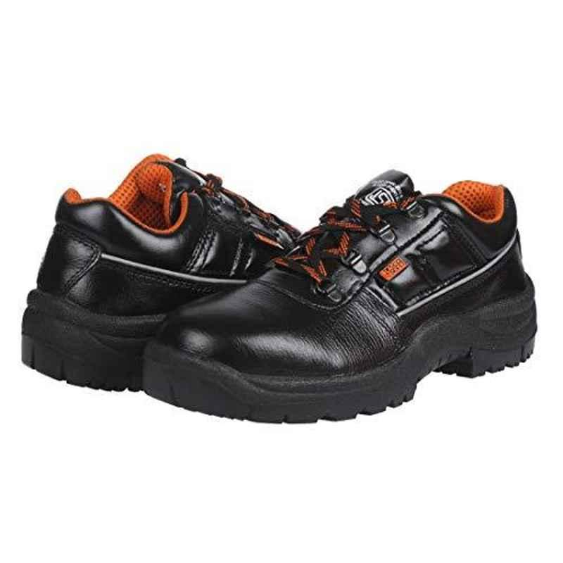 Black & Decker Design A Single Density Lace Up Leather Black Safety Shoes, BXWB0101IN-09, Size: 9