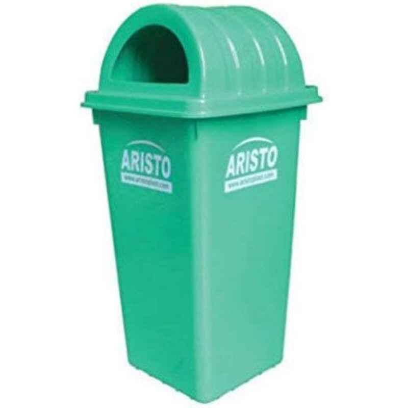 Aristo 60L Plastic Green Dustbin with Dome Lid (Pack of 2)