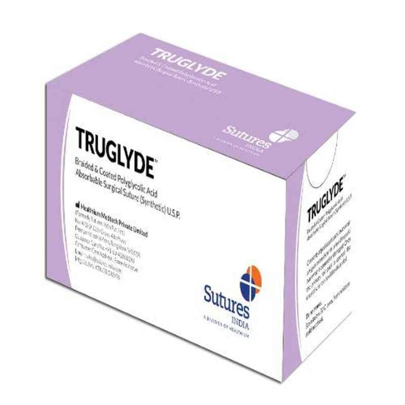 Truglyde 36 Foils 2 USP 140cm 1/2 Circle Reverse Cutting Heavy Double Armed Fast Absorbing Synthetic Suture Box, SN 2353T