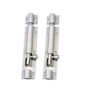 Smart Shophar 4 inch Brass Nickel Silver Hex Tower Bolt, SHA10TW-HEX-NS04-P2 (Pack of 2)