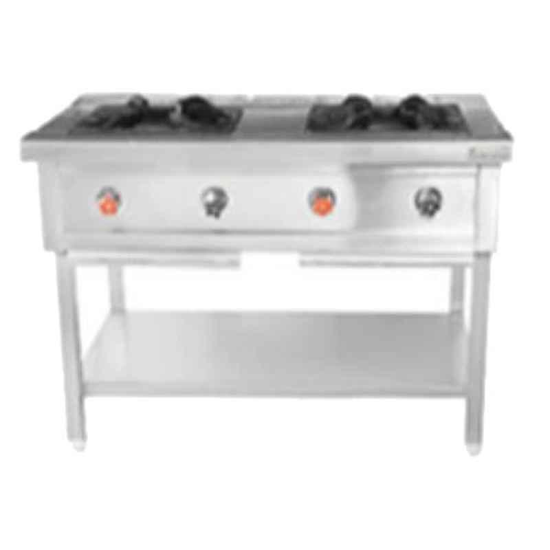 Star Fabricator 1050x600x850+100cm Swg SS Sheet Heavy Duty Pan Spot with Two Indian Burner Range with Pilot