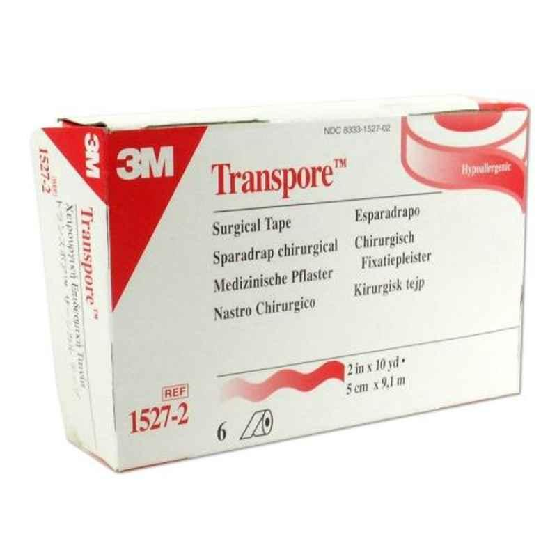 3M Transpore 2 inch Surgical Tape Roll, 1527-2 (Pack of 6)