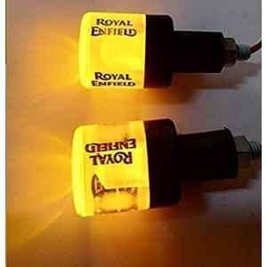 AOW Handle Bar End Dual Led Crystal Side Indicator Lights for Royal Enfield Models (Orange) K-6.13(Set of 2)