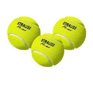 Strauss Yellow Rubber Light Weight Cricket Tennis Ball, ST-1548 (Pack of 3)