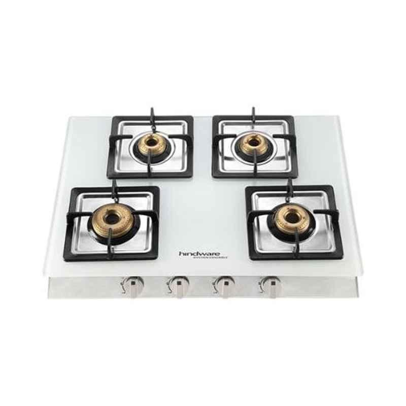 Hindware Lorenzo 4B 4 Burners Auto Ignition White Toughened Glass Cooktop, 515272