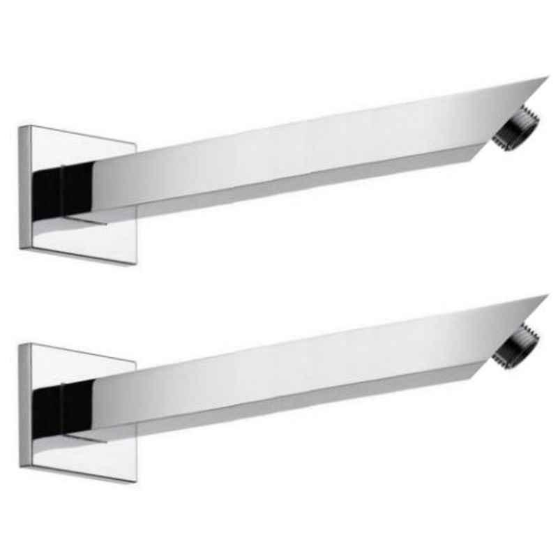 Drizzle 2 Pcs 9 inch Stainless Steel Chrome Finish Silver Square Shower Arm Set, A9SQARM2