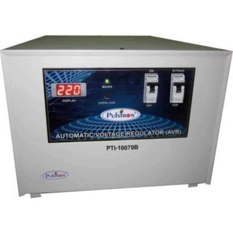 Pulstron PTI-10070B 10kVA 70-290V Single Phase Grey Bypass Automatic Mainline Voltage Stabilizer