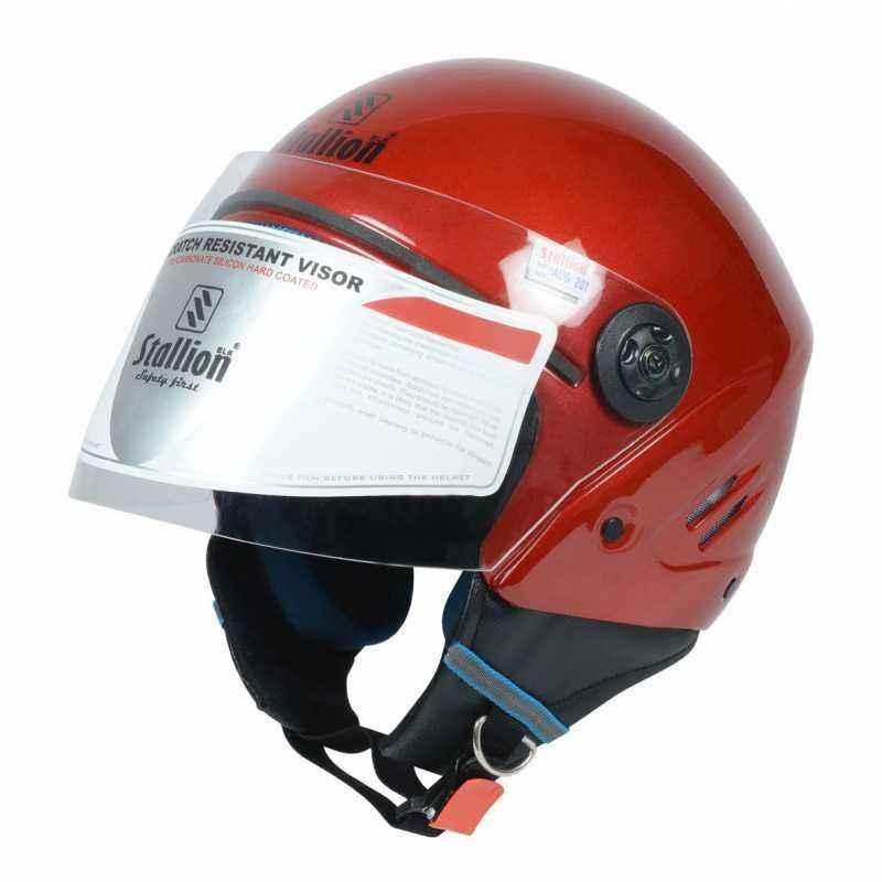 Stallion BLK K10 Open Face Off Red Motorbike Helmet, Size: M