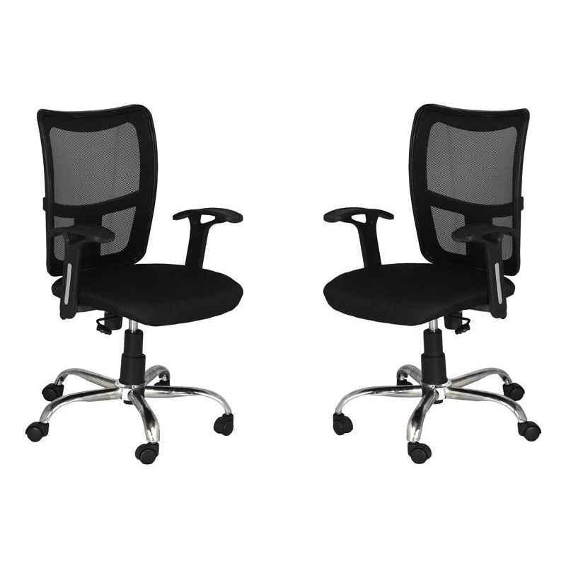 High Living Bravo LB Net & Cloth High Back Black Office Chair (Pack of 2)