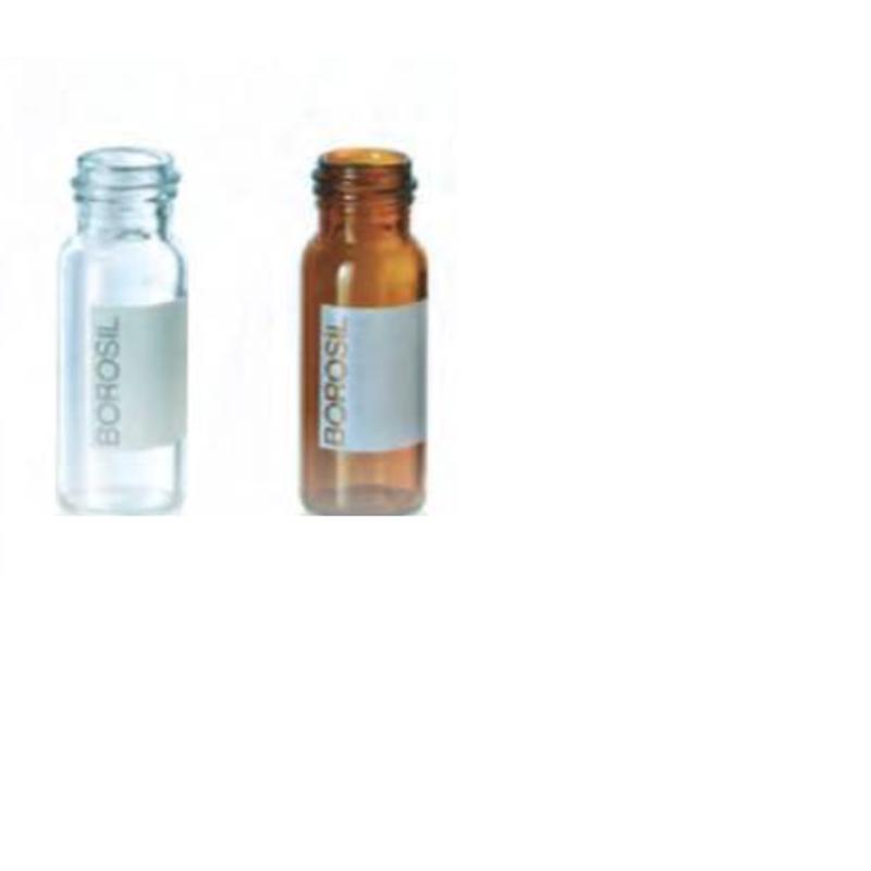 Borosil 100 Pcs 2ml Clear USP Type I Flat Bottom 9mm Screw Neck Vial, VO02C10900S000 (Pack of 10)