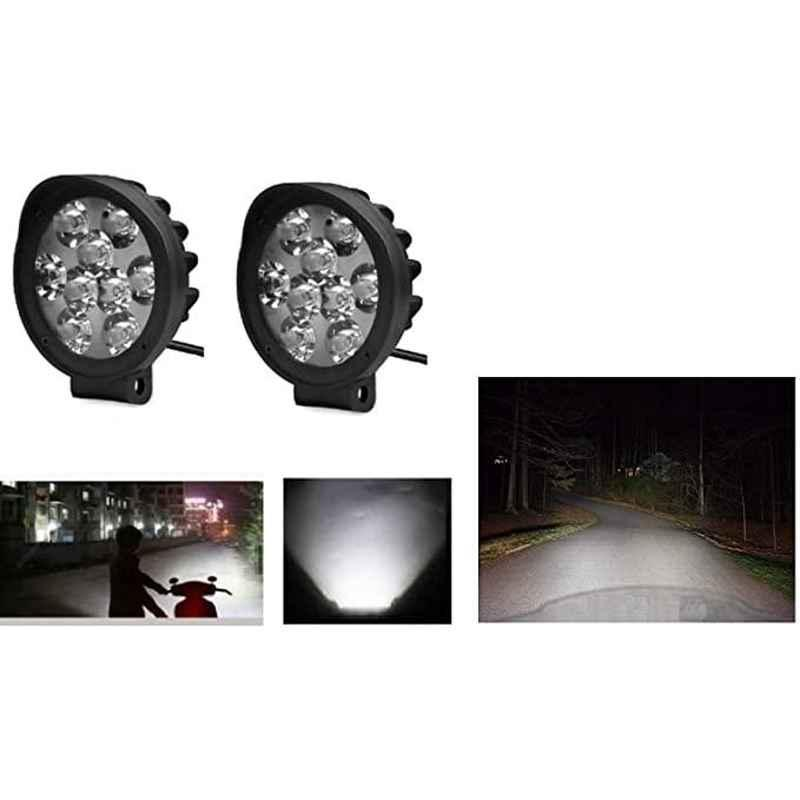 AOW LED Small Round Auxiliary Bike Fog Lamp Light Assembly White (Set of 2) with Switch for Bajaj Platina 125