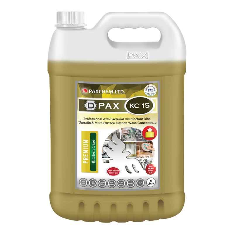 D-Pax KC15 Professional Anti-Bacterial Disinfectant Dish, Utensils & Multi-Surface Kitchen Wash Concentrate, 5L