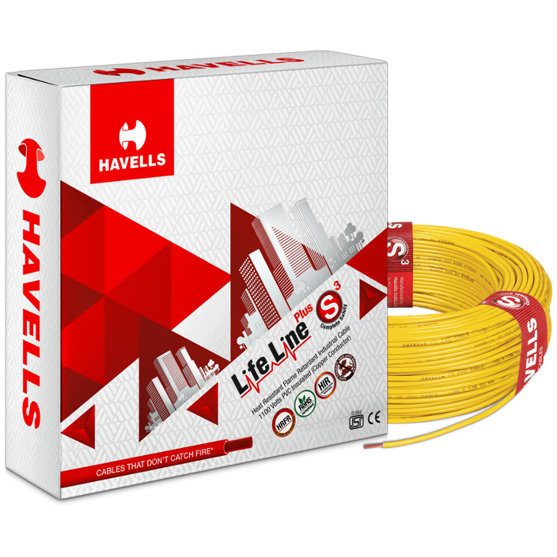 Havells 4 Sqmm Yellow Life Line Plus Single Core HRFR PVC Insulated Flexible Cables, WHFFDNYA14X0, Length: 90 m
