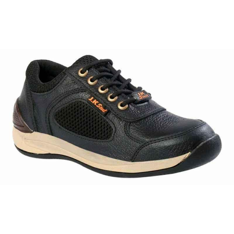 JK Steel JKPI005BK Steel Toe Black Safety Shoes, Size: 8
